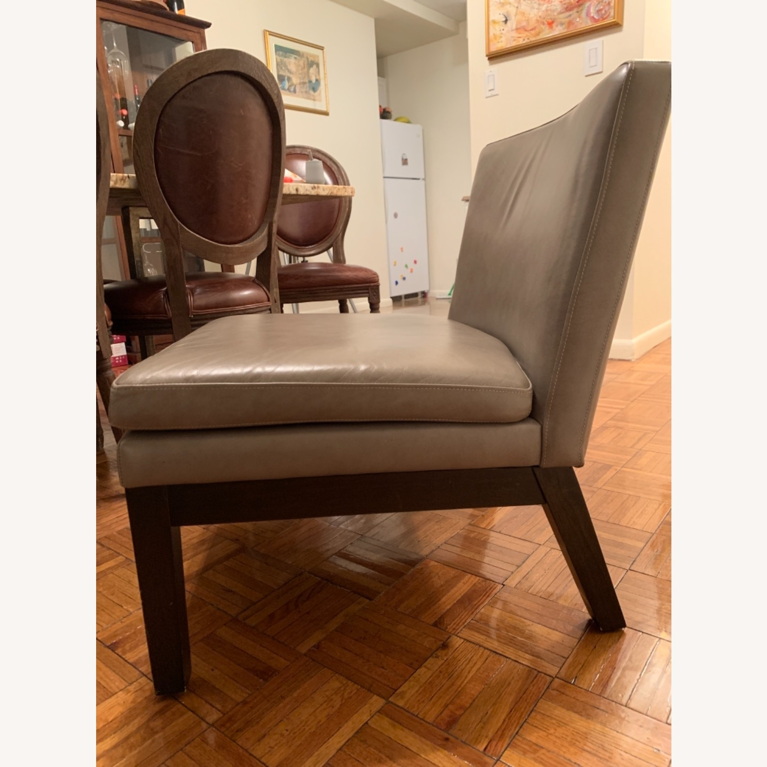 West Elm Grey Leather Accent Chair - image-3