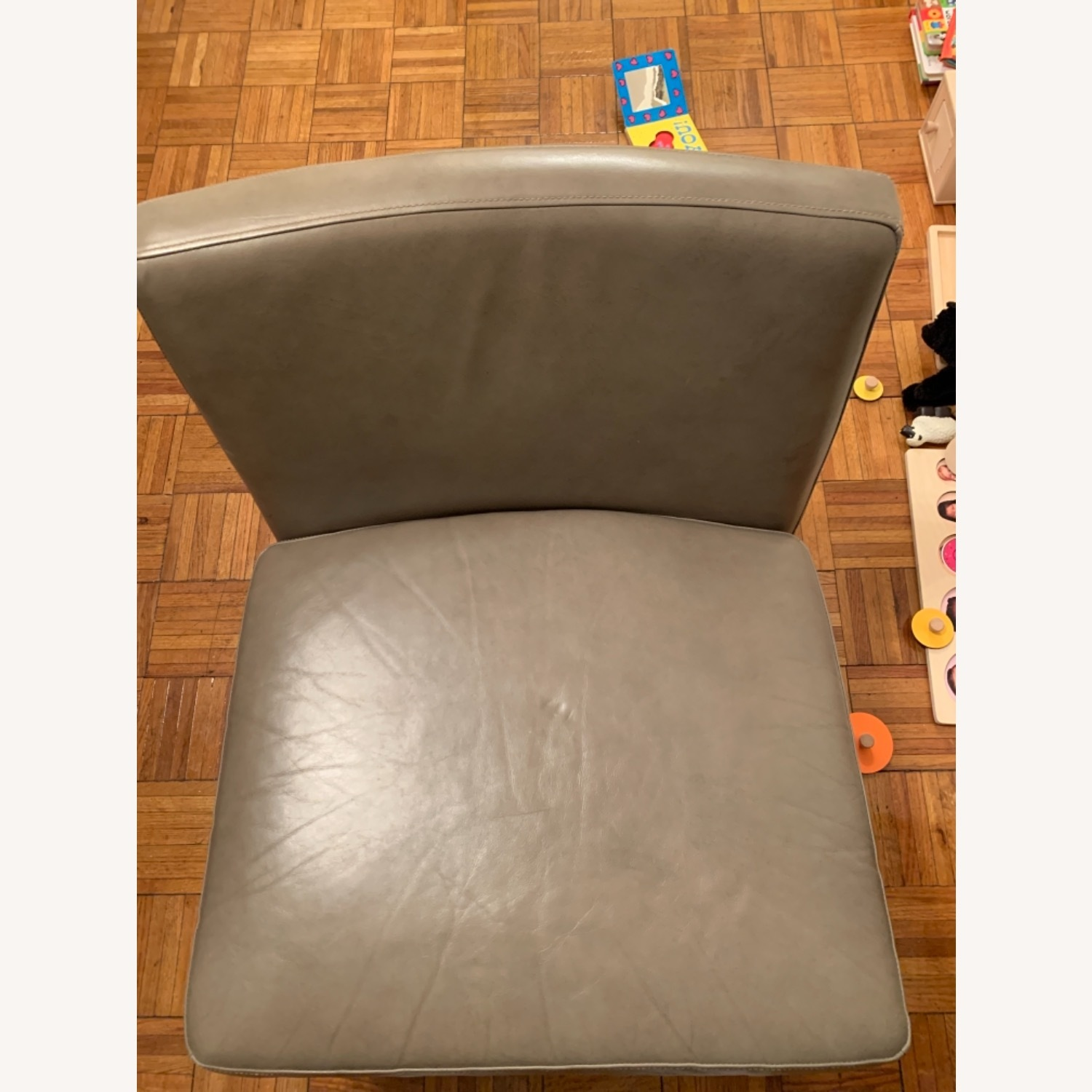 West Elm Grey Leather Accent Chair - image-4