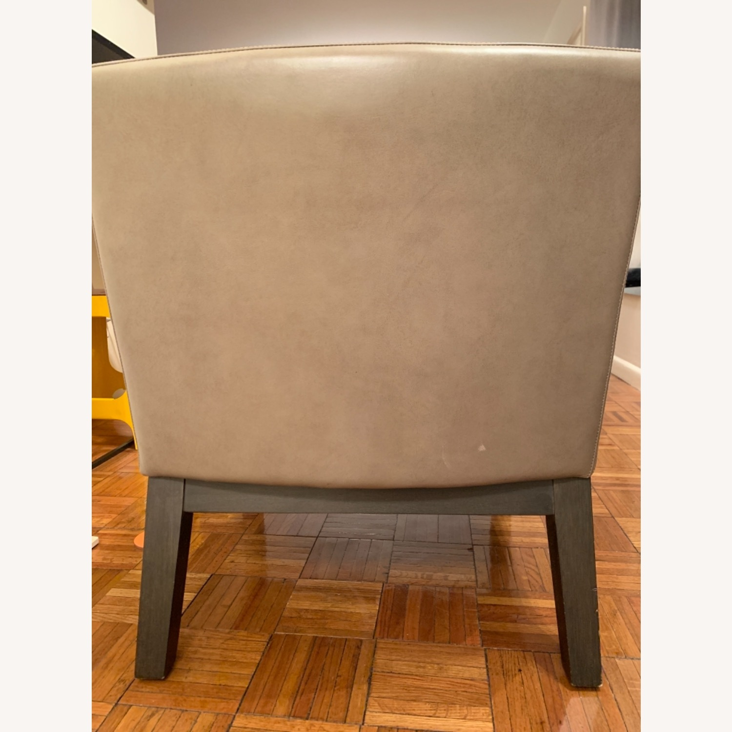 West Elm Grey Leather Accent Chair - image-6
