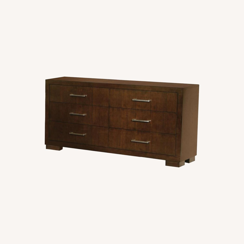 Dresser In Cappuccino Finish W/ Bar Handles - image-4