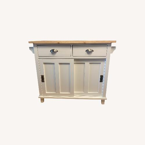 Used Crate & Barrel White Kitchen Island for sale on AptDeco