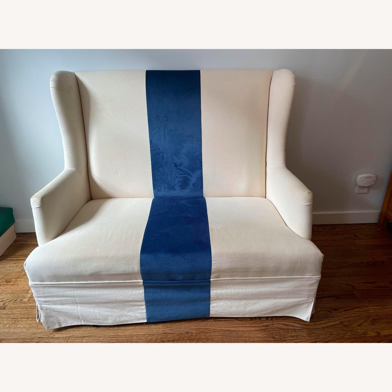 Canvas and Blue Velvet Loveseat - image-1
