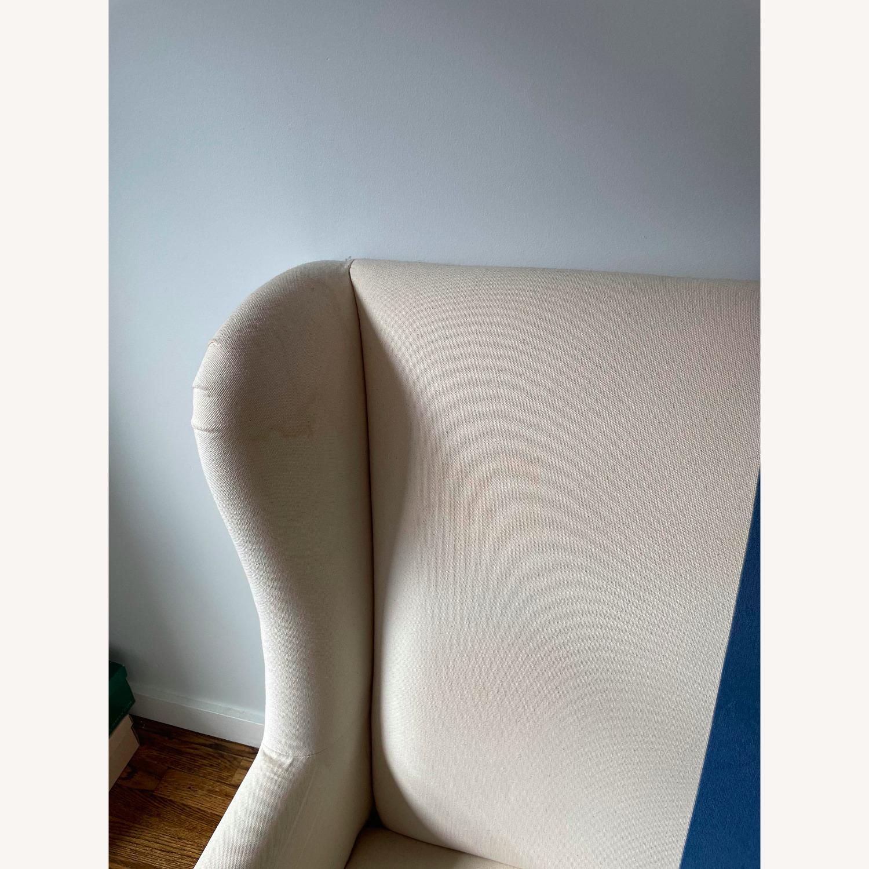 Canvas and Blue Velvet Loveseat - image-6