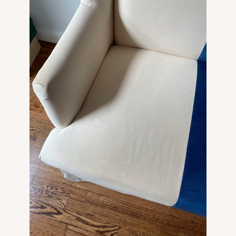 Canvas and Blue Velvet Loveseat - image-5