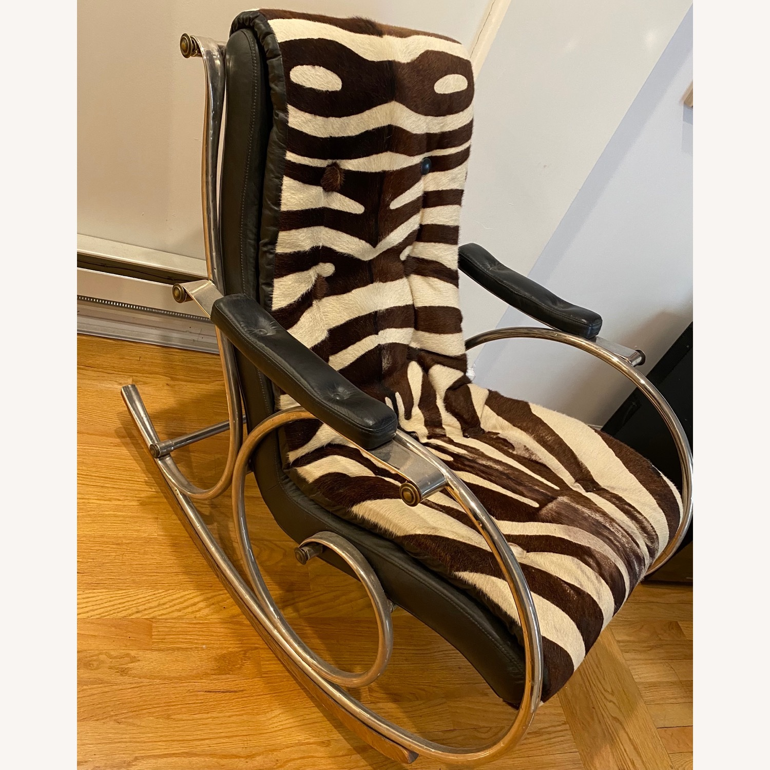 Vintage Zebra Rocking Chair - image-1