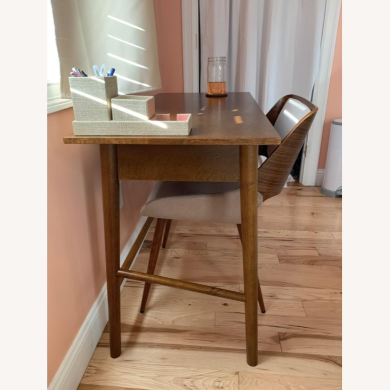 Mid Century Modern Wooden Grey Dining Chair - image-5