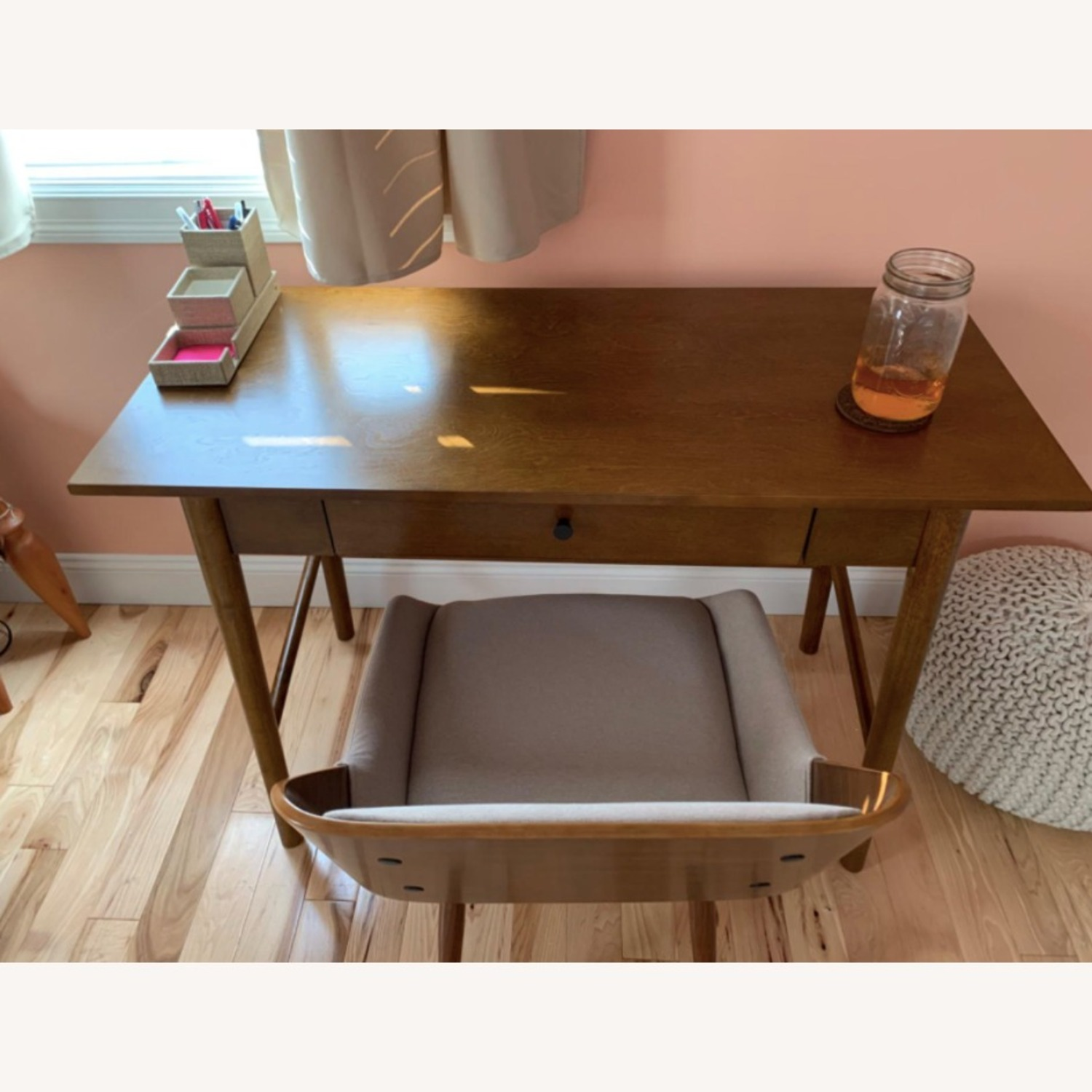 Mid Century Modern Wooden Grey Dining Chair - image-6