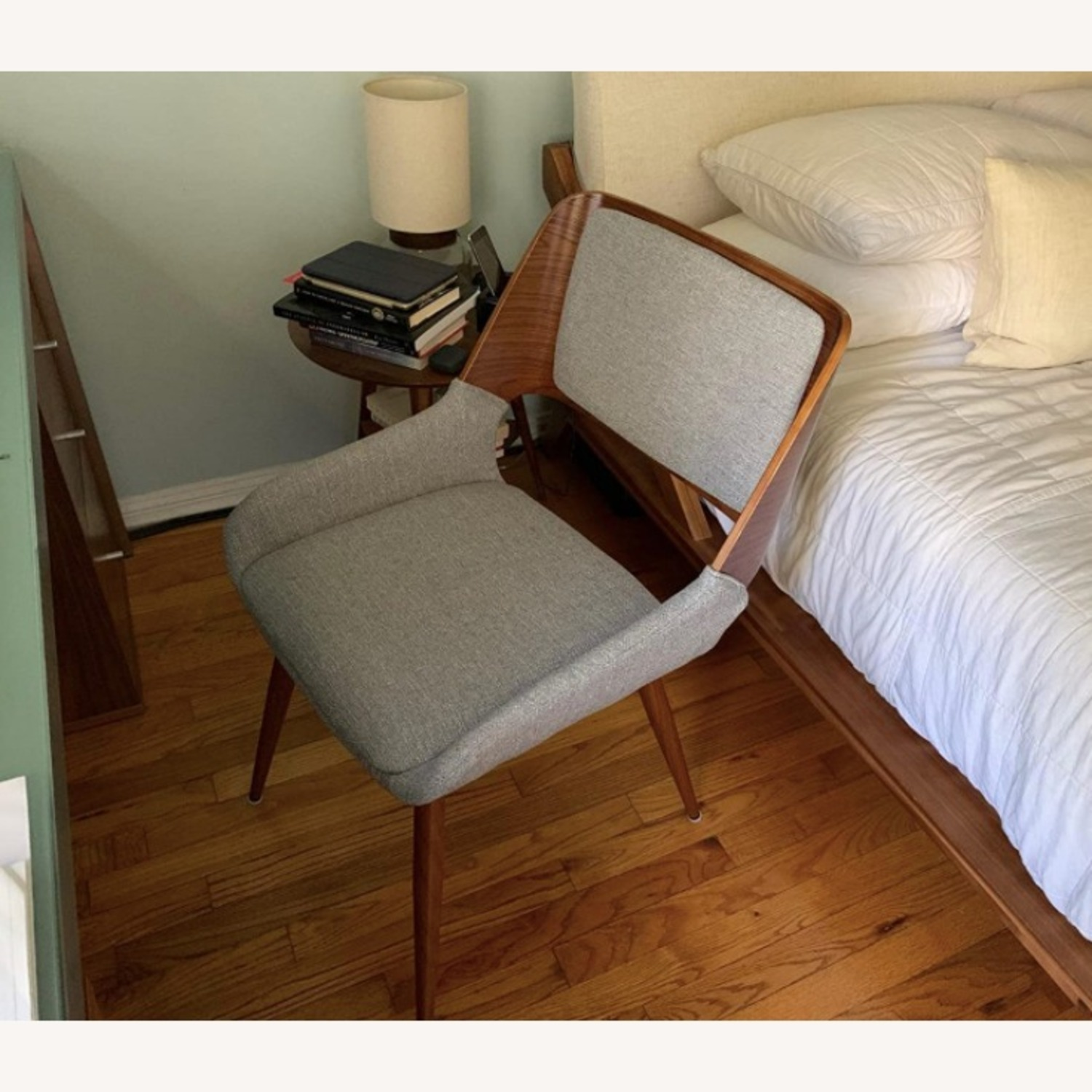 Mid Century Modern Wooden Grey Dining Chair - image-4