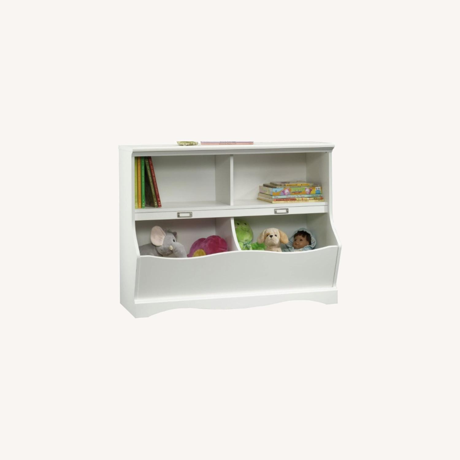 Modern Traditional 2 Tier White Bookcase Storage - image-0
