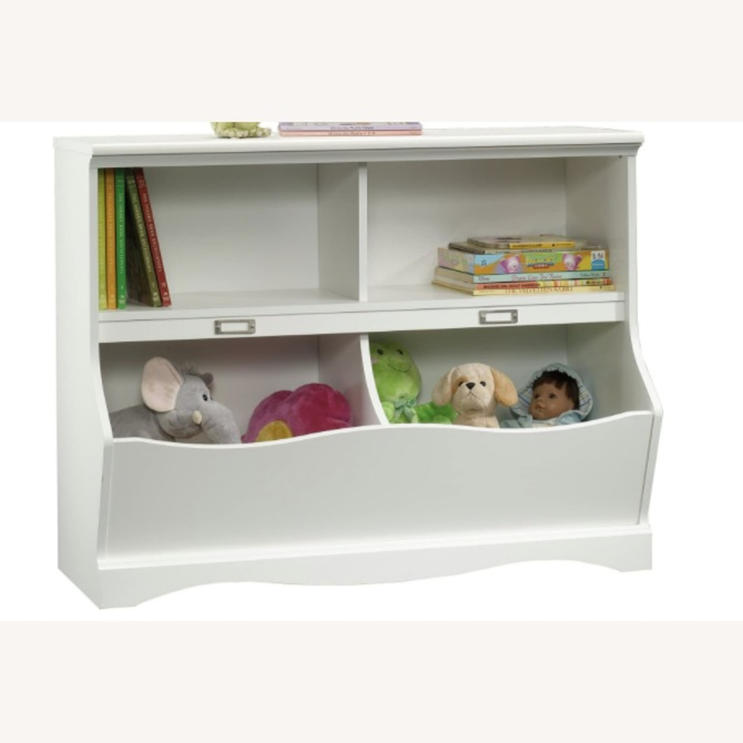 Modern Traditional 2 Tier White Bookcase Storage - image-1