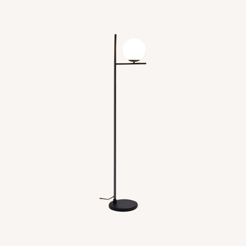 Mid Century Modern Tall Black Globe Floor Lamp - image-0