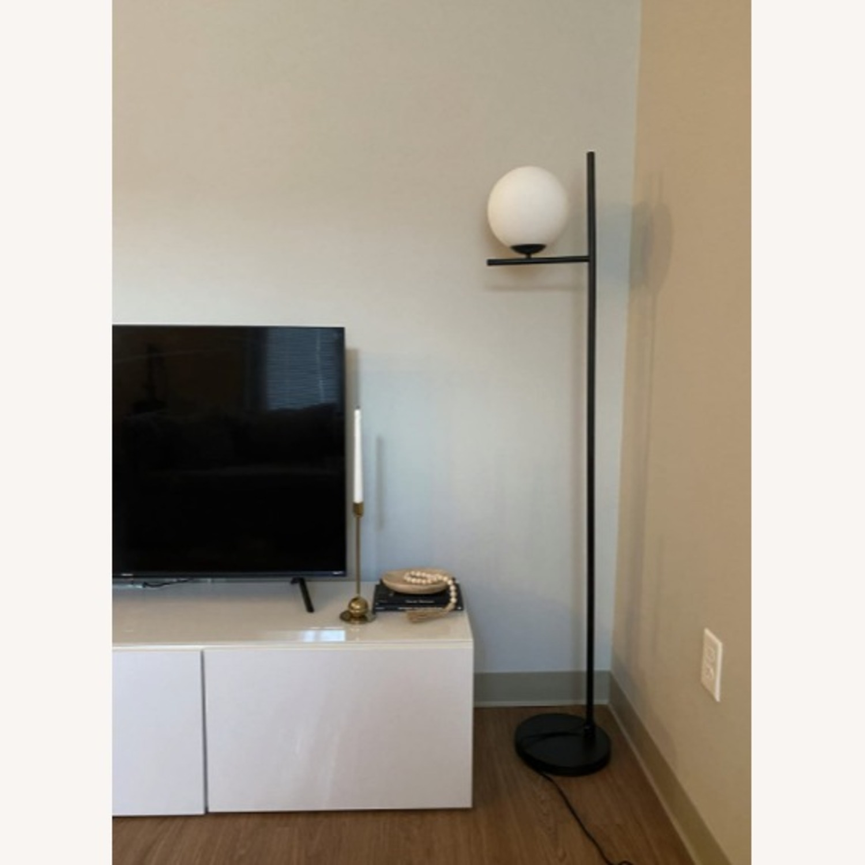 Mid Century Modern Tall Black Globe Floor Lamp - image-3