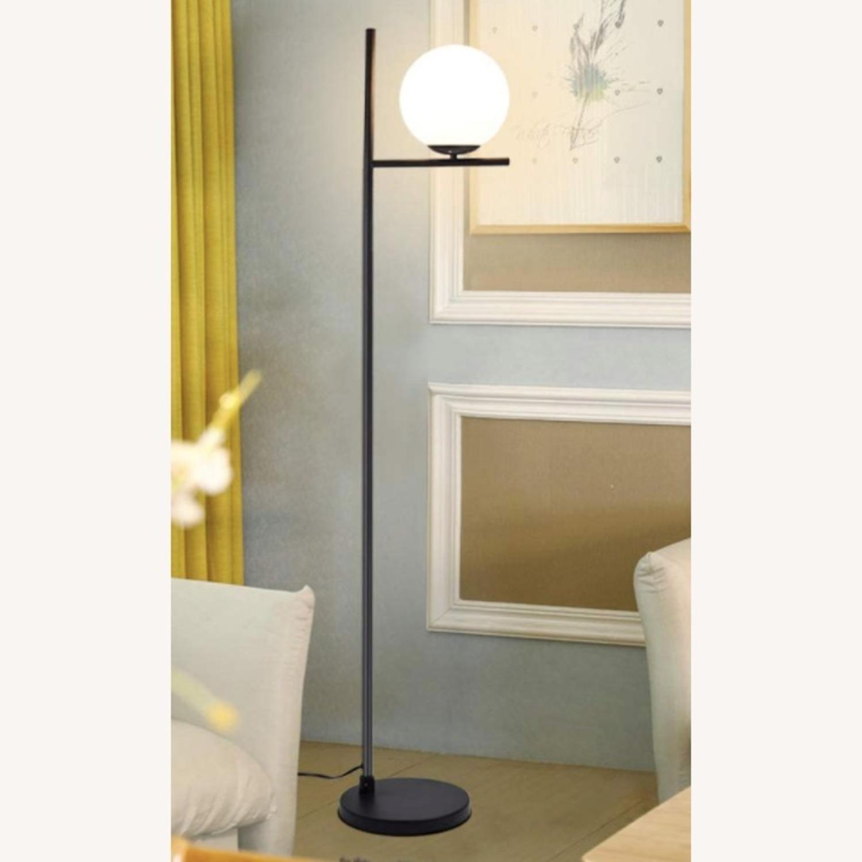 Mid Century Modern Tall Black Globe Floor Lamp - image-1