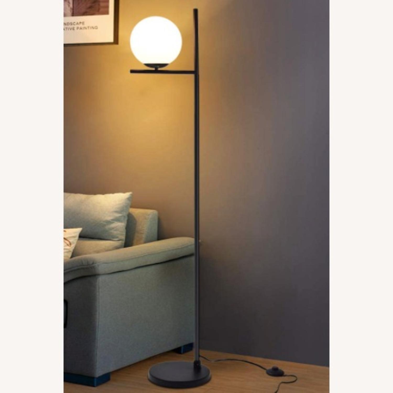 Mid Century Modern Tall Black Globe Floor Lamp - image-2