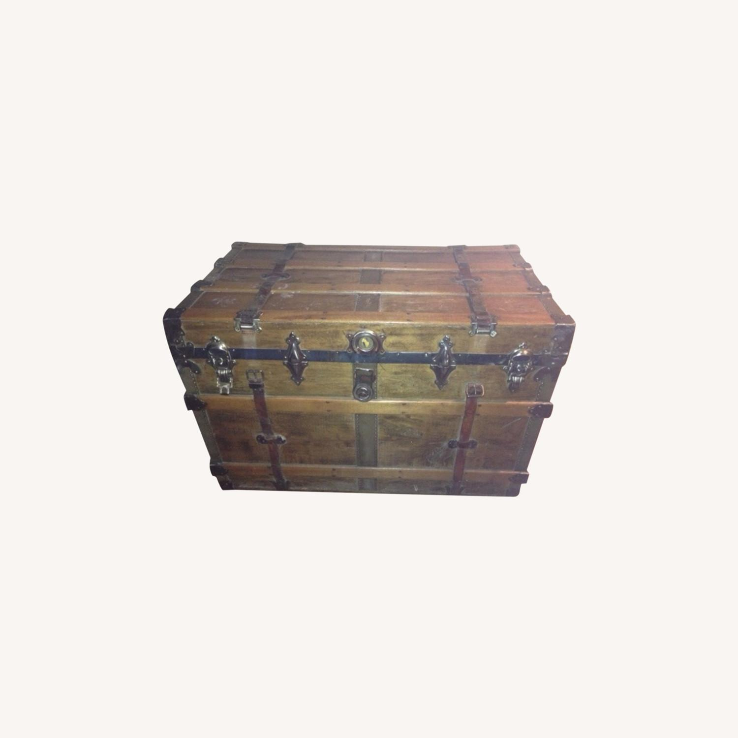 Refinished Decorated Antique Trunk - image-0