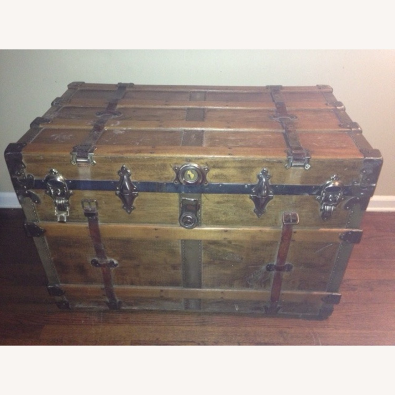 Refinished Decorated Antique Trunk - image-6