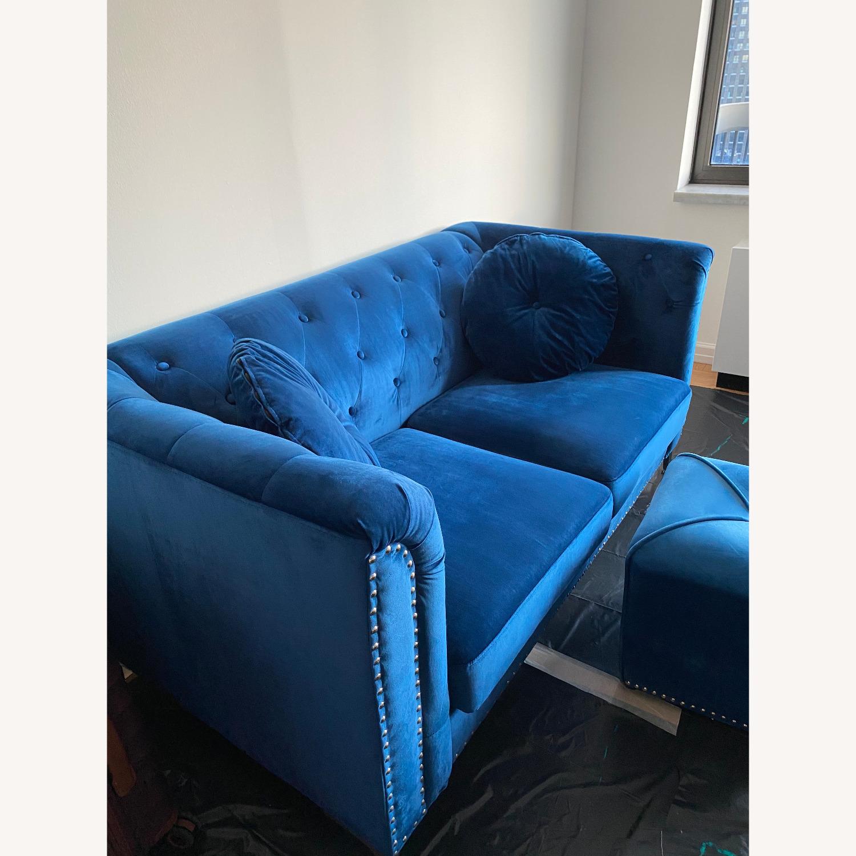 Royal Blue Loveseat Set - image-2