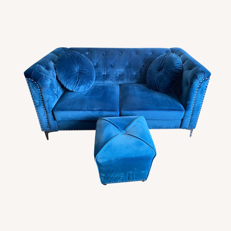 Royal Blue Loveseat Set - image-0