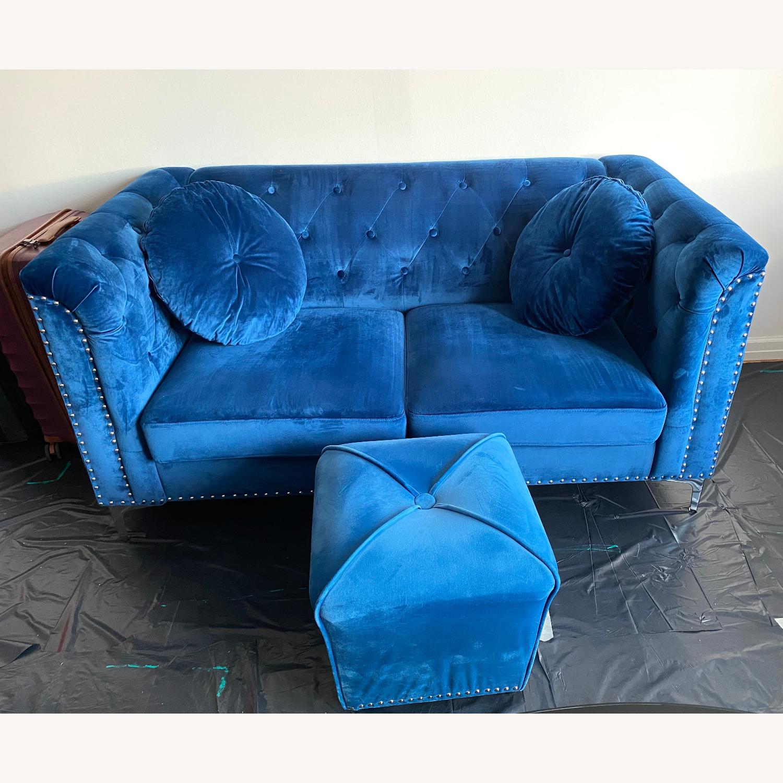 Royal Blue Loveseat Set - image-1