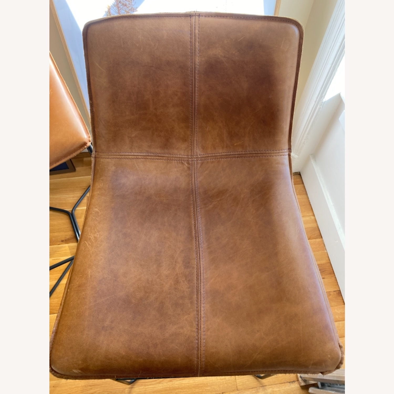 West Elm Leather Bar Seats - image-4
