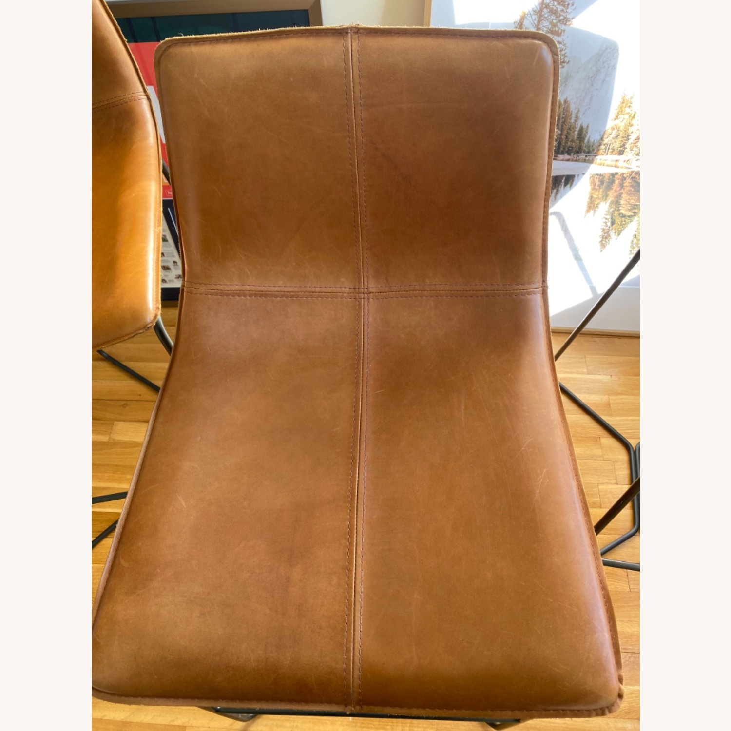 West Elm Leather Bar Seats - image-7