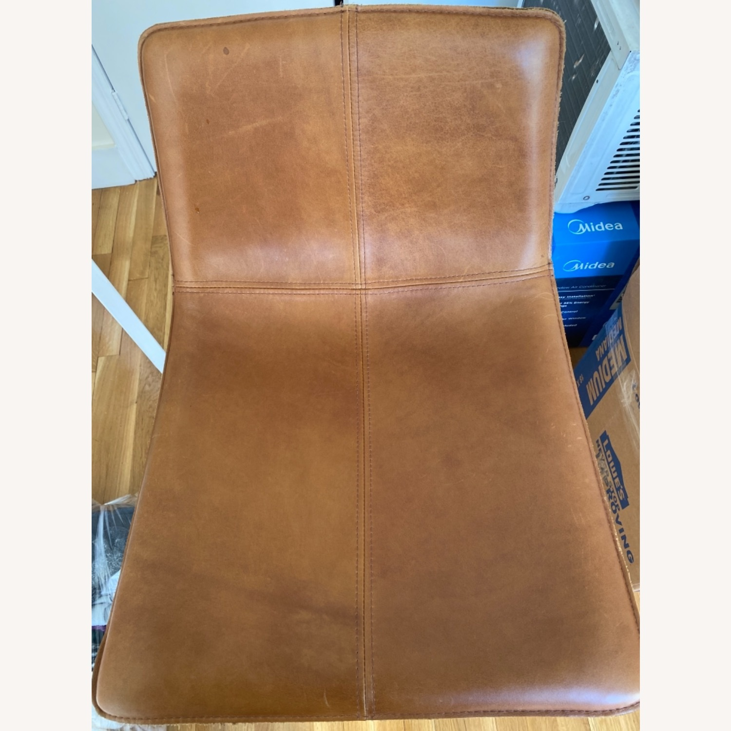 West Elm Leather Bar Seats - image-5