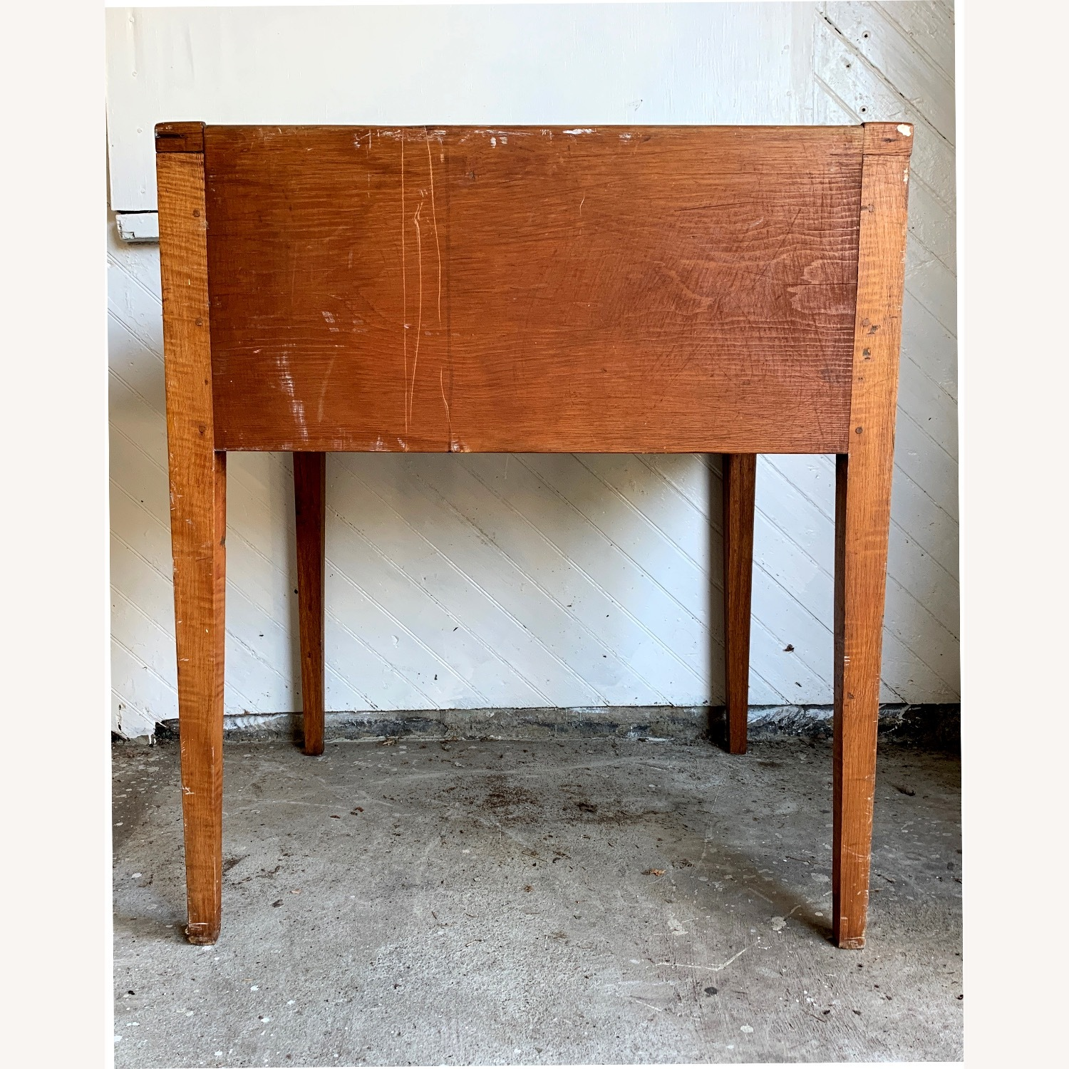 Antique Wooden Slant-top Desk with Storage - image-5