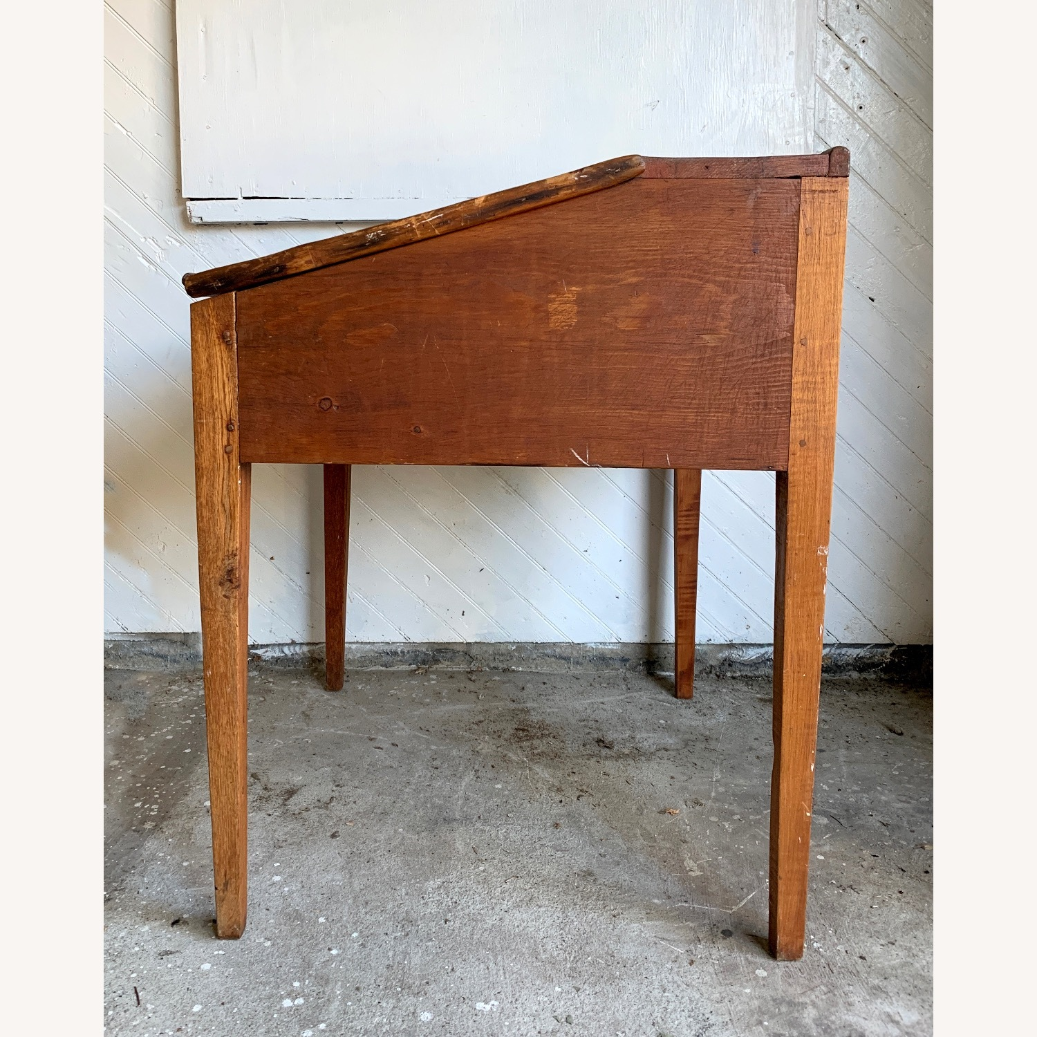 Antique Wooden Slant-top Desk with Storage - image-3