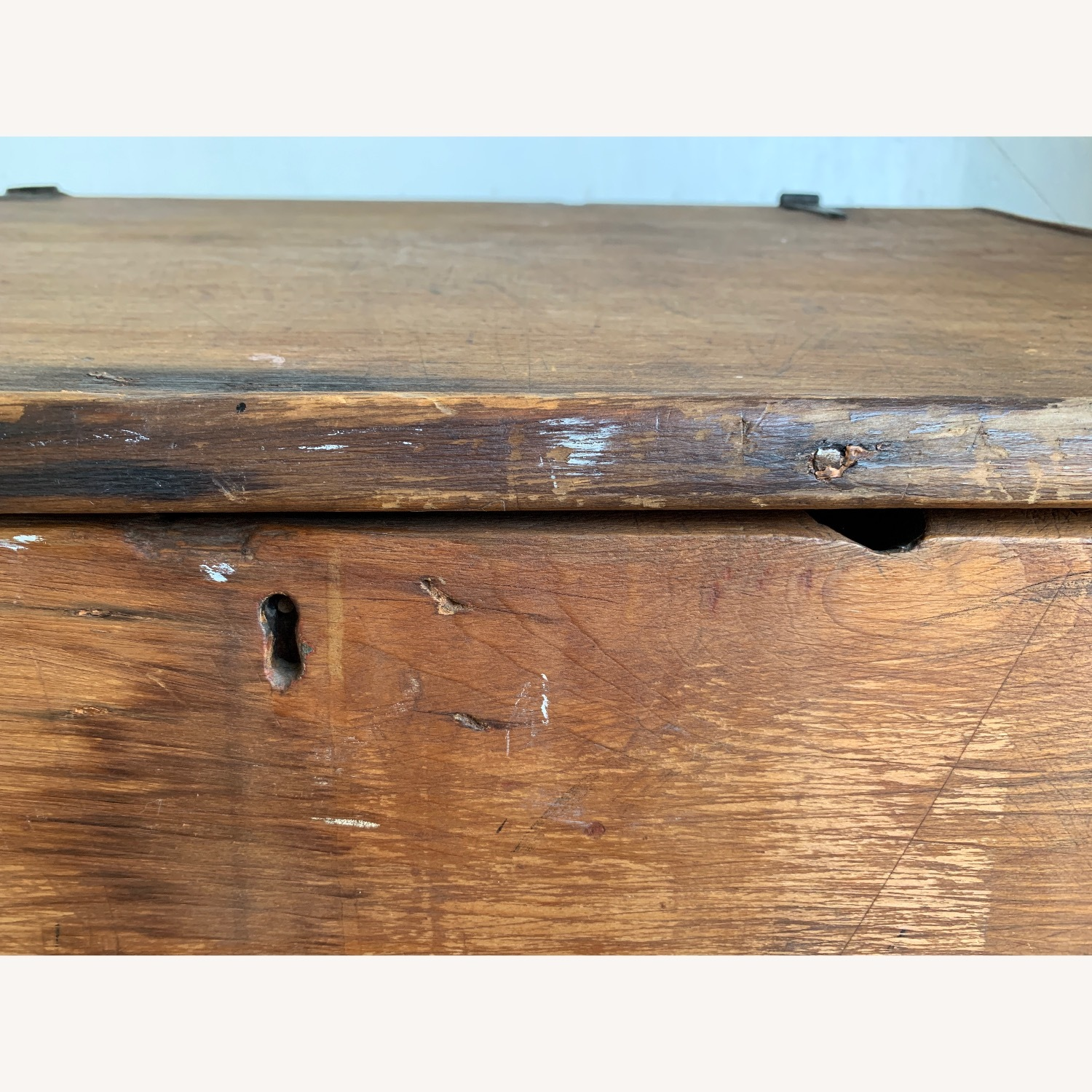 Antique Wooden Slant-top Desk with Storage - image-11