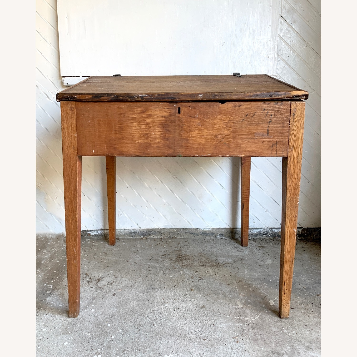 Antique Wooden Slant-top Desk with Storage - image-4