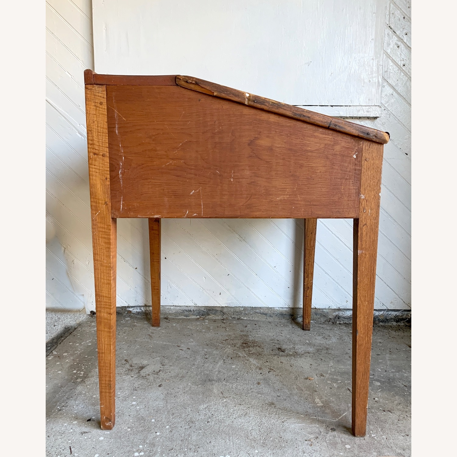 Antique Wooden Slant-top Desk with Storage - image-1