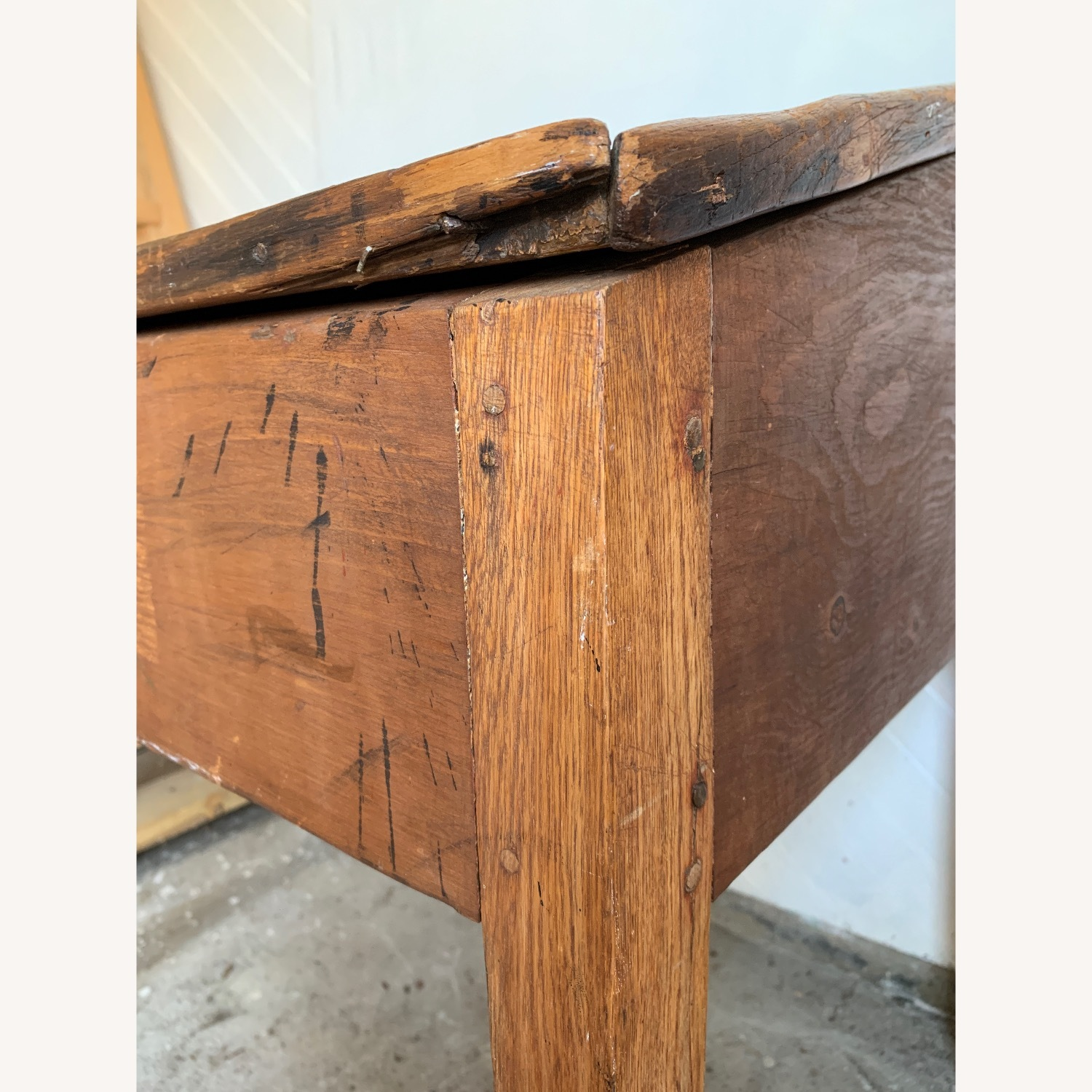 Antique Wooden Slant-top Desk with Storage - image-7