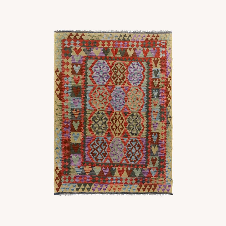 Vintage wool kilim Rug 5'0 X 6'8 - image-0
