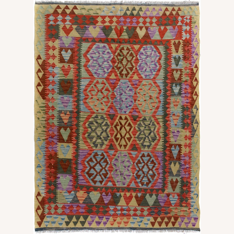 Vintage wool kilim Rug 5'0 X 6'8 - image-1