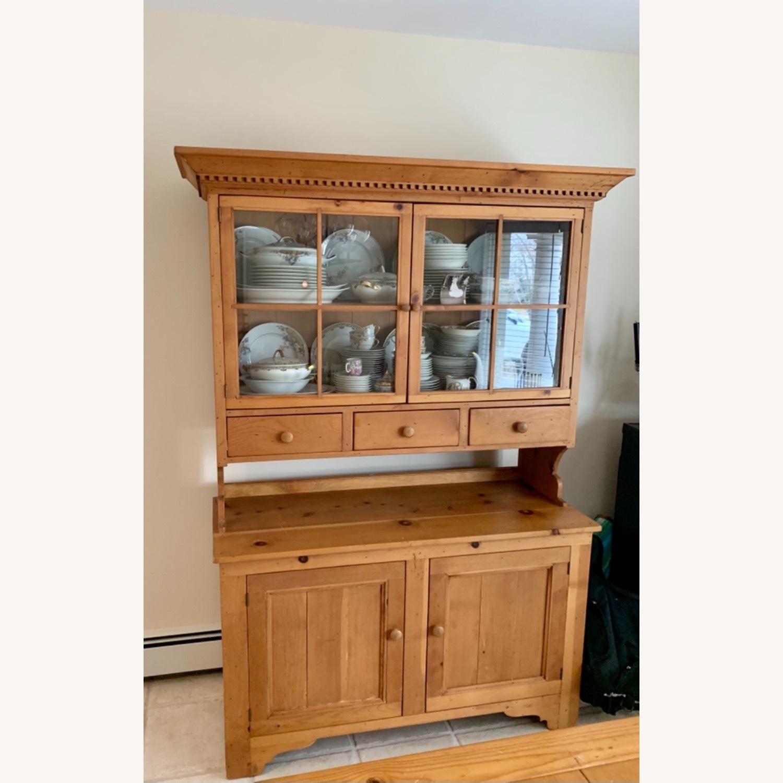Distressed Wood Breakfront Cabinet Storage - image-1