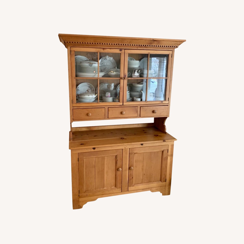 Distressed Wood Breakfront Cabinet Storage - image-0