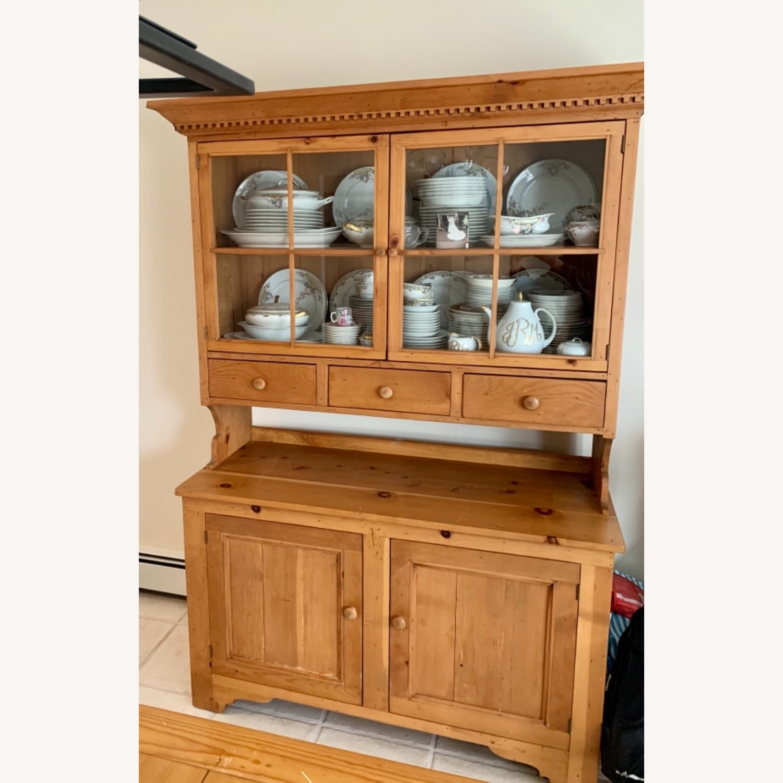 Distressed Wood Breakfront Cabinet Storage - image-2