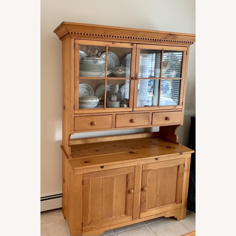 Distressed Wood Breakfront Cabinet Storage - image-3