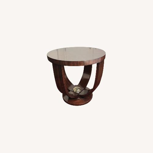 Used Maitland Smith Mahogany Round Side Table for sale on AptDeco