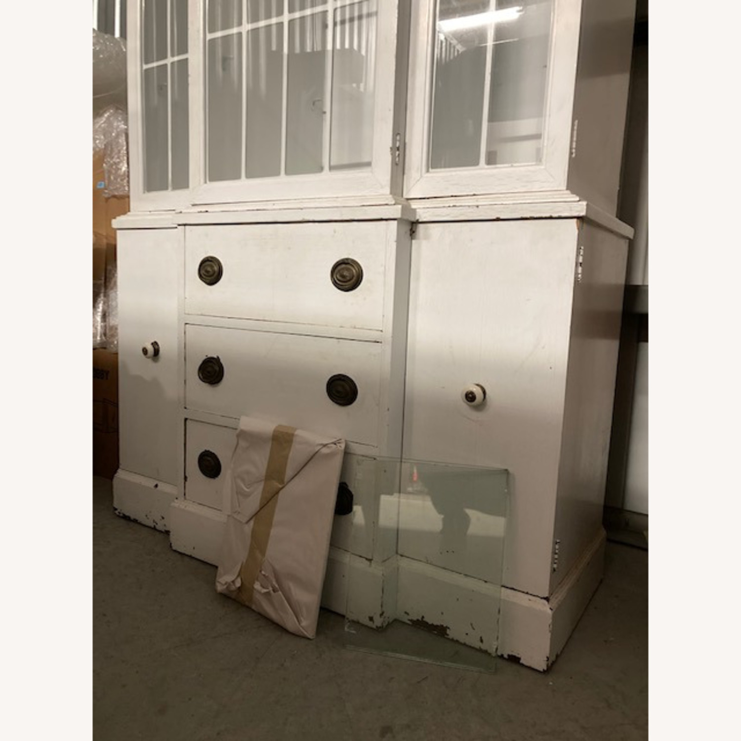Tall White Display Hutch with Drawers Below - image-2