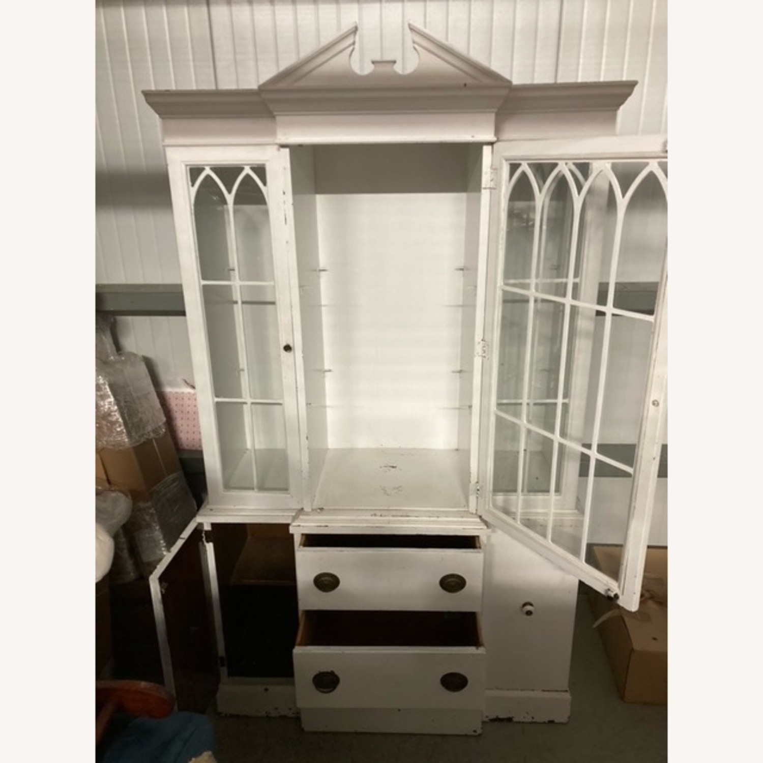 Tall White Display Hutch with Drawers Below - image-1