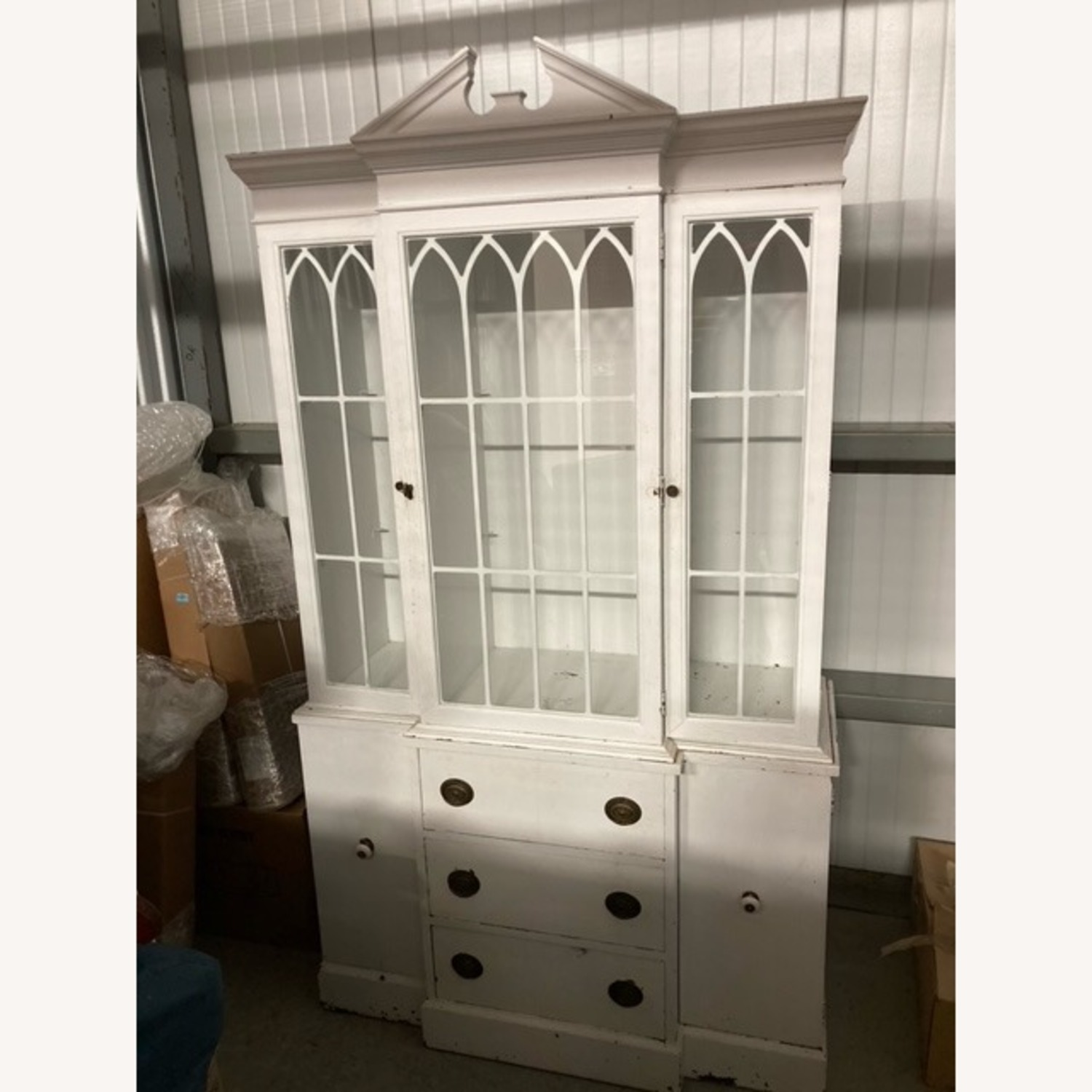 Tall White Display Hutch with Drawers Below - image-0
