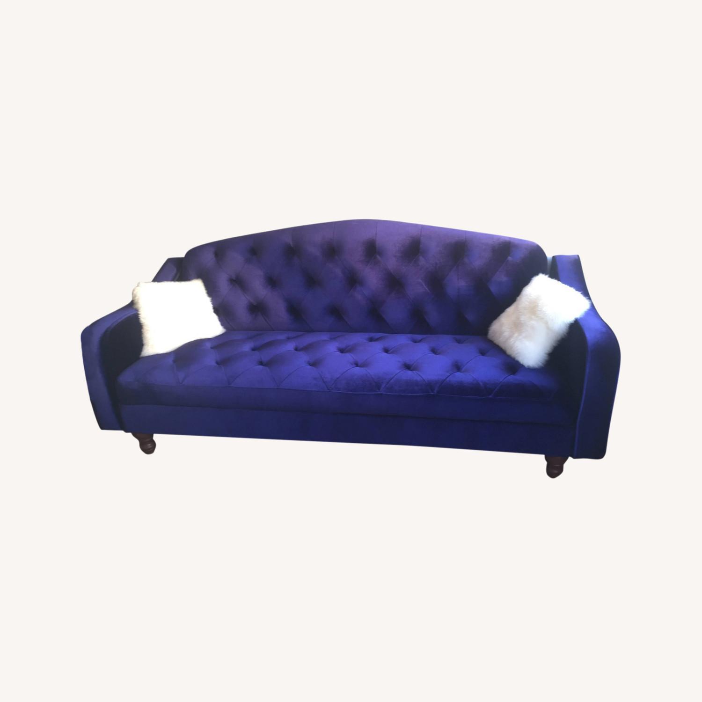 Urban Outfitters Velvet Tufted Sleeper Sofa - image-0
