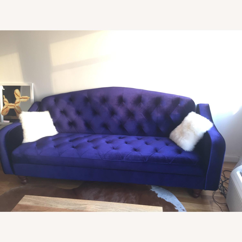 Urban Outfitters Velvet Tufted Sleeper Sofa - image-2