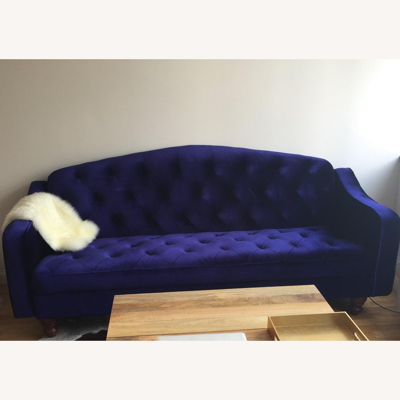 Urban Outfitters Velvet Tufted Sleeper Sofa - image-1
