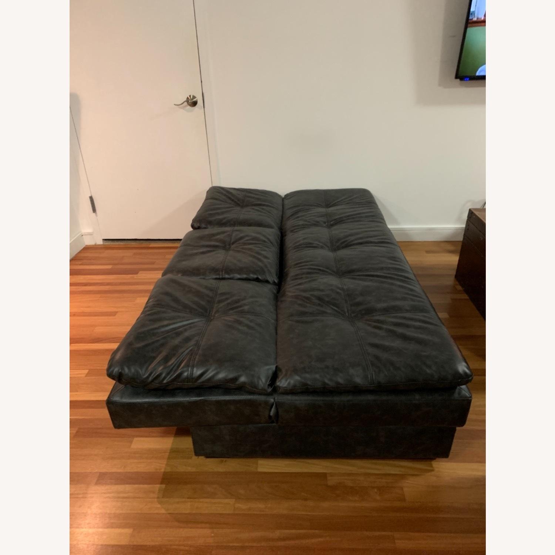 Black Faux Leather Sleeper Sofa - image-8