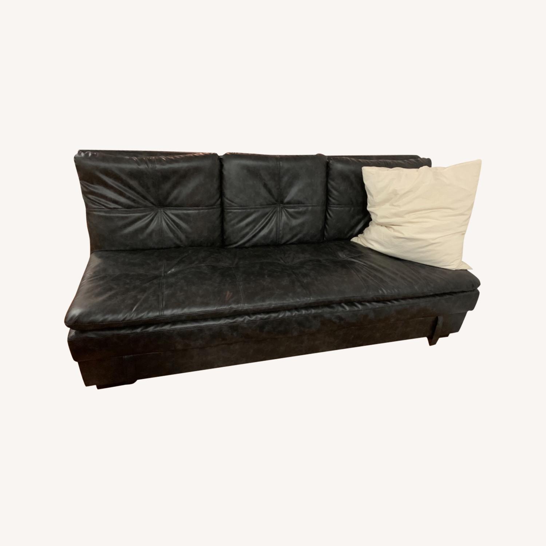 Black Faux Leather Sleeper Sofa - image-0