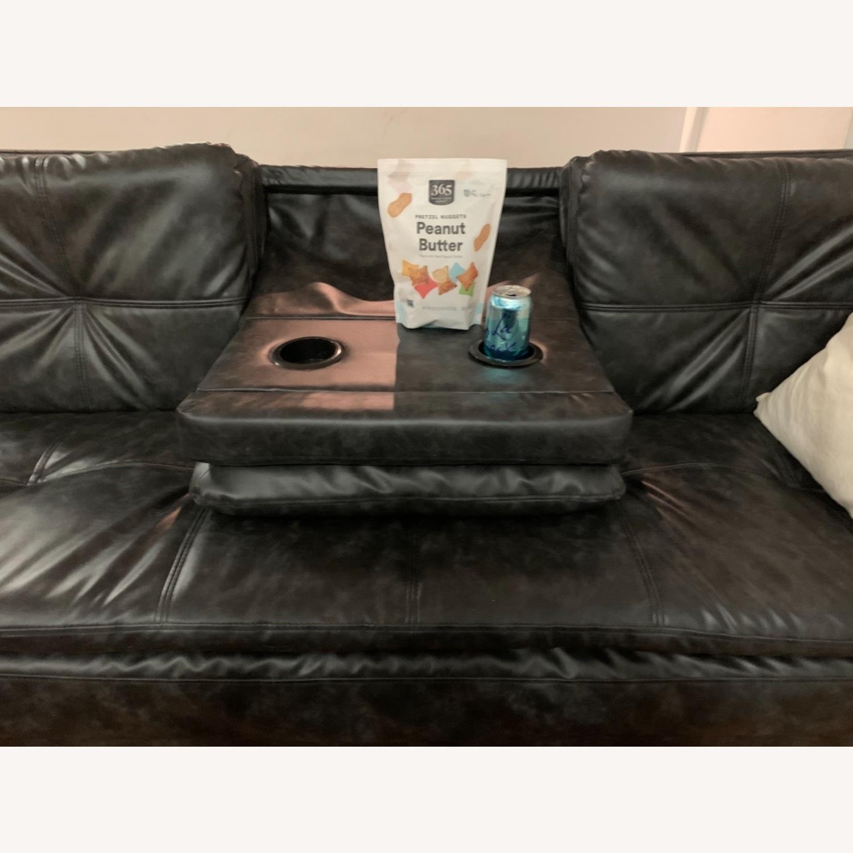 Black Faux Leather Sleeper Sofa - image-4