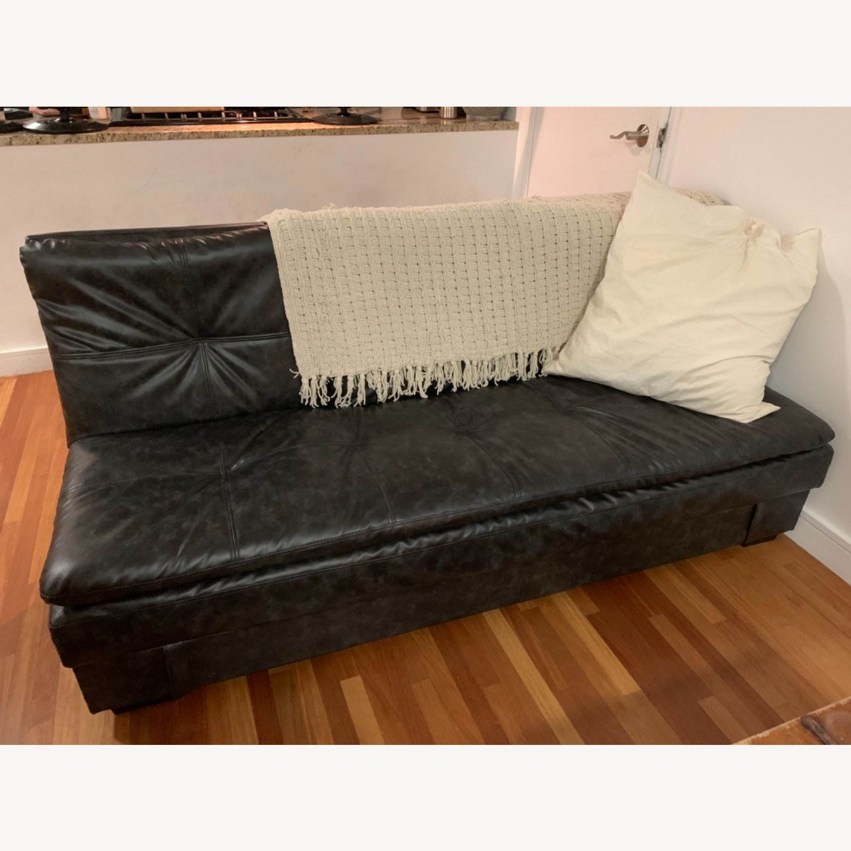 Black Faux Leather Sleeper Sofa - image-2