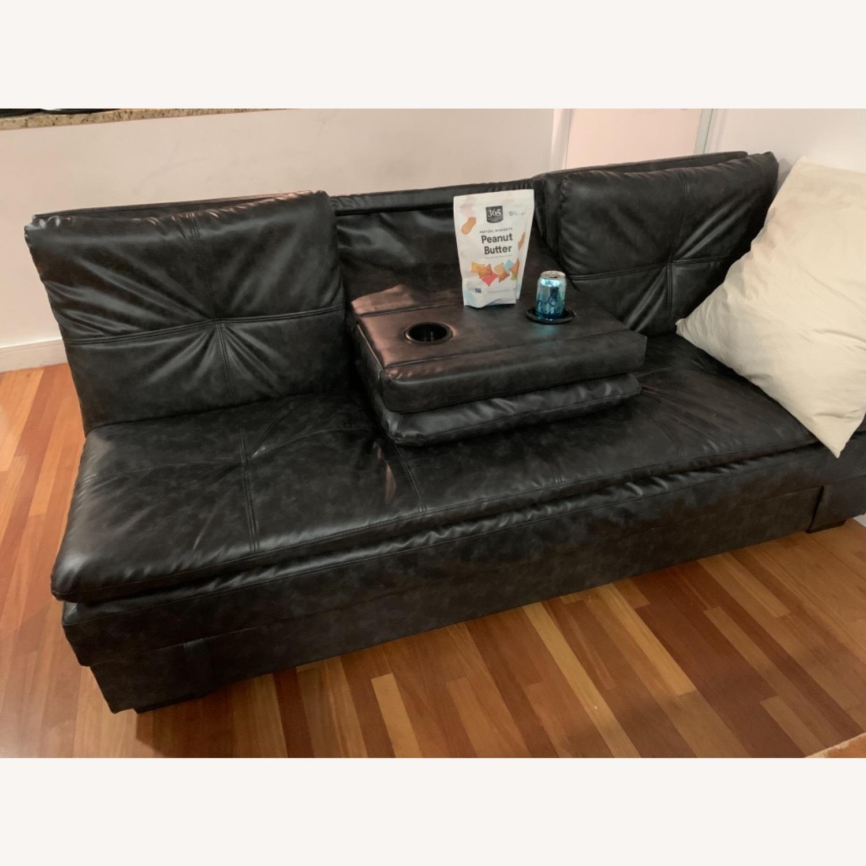Black Faux Leather Sleeper Sofa - image-3
